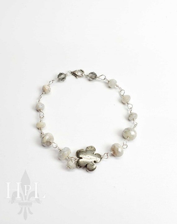Sterling silver handmade silverite gemstone and hematite flower Bracelet