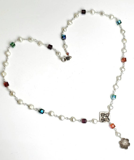 Handmade rosary chain sterling silver freshwater pearl and Swarovski crystal artisan necklace one of a kind pendants multicolored wedding