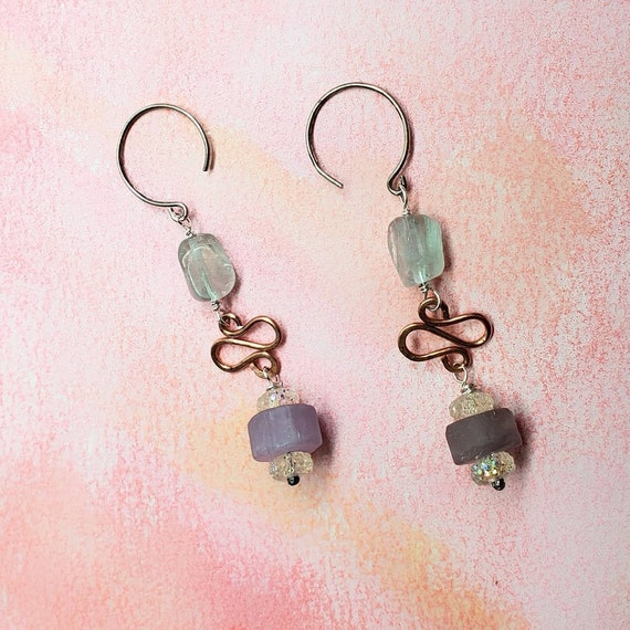 amethyst and fluorite gemstone handmade copper and sterling earrings one of a kind