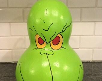 Grinch Gourd Centerpiece Signed