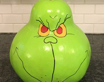 Grinch Gourd Centerpiece Signed Shimmery message in back