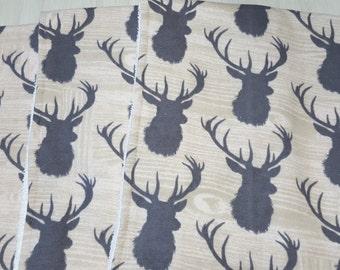 Burp Cloth Deer Buck Flannel Terry Cloth Set of 3 XL