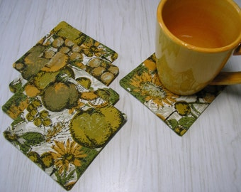 Coasters Set of 5 Fruits & Florals Vintage Upcycled Tablecloth