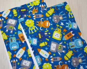 Burp Cloth Robots Rockets Flannel Terry Cloth Set of 2 XL