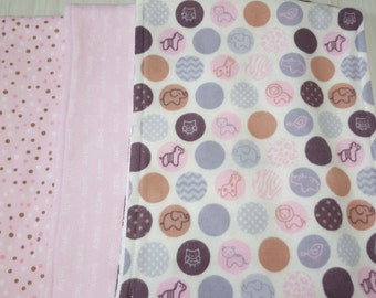 Burp Cloth Dots Baby Tossed Dots Pink Grey Flannel Terry Cloth Set of 3 XL