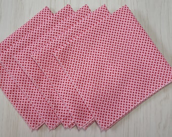 Valentines Day Cloth Napkins Tiny Red Hearts on Pink Set of 5
