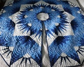80 quot dim star Patchwork Quilted Christmas Tree Skirt ,shades of Blue