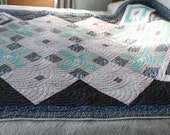 OOAK Beautiful Quilt Teal Black Twin, Single bed 67 quot by 86 quot