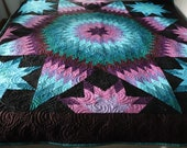 OOAK Patchwork Carpenter Star Quilt, Traditional Quilt Blanket 90 quot by 90 quot Queen King Alaskan 39 s Sunset