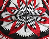 OOAK Patchwork Traditional Quilt, 78 quot by 78 Red Black White Star Throw Twin Queen