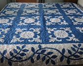 OOAK Patchwork Blue White Applique Quilt, Traditional Quilt Blanket 89 quot by 89 quot Queen King custom quilted