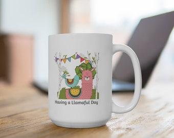Llamalful Day Llama Ceramic Mug 15oz