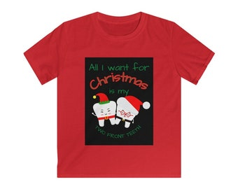 Two Front Teeth Christmas Kids Softstyle Tee