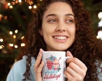Happy Holidays Christmas Ceramic Mug 15oz