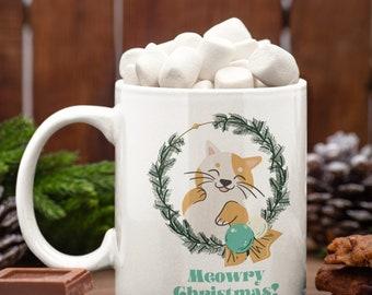 Cat Meowry Christmas Holiday Ceramic Mug 15oz