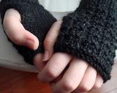 Black Fingerless Gloves, Alpaca - Women's S/M Custom Order