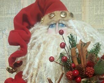 READY To SHIP Vintage Quilt Santa Hand Claus Doll Made Primitive Folk Art Unique Details