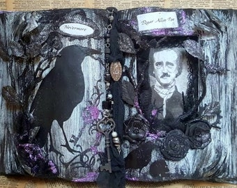 FREE SHIPPING...Made To Order-Edgar Allan Poe Themed Restyled Book Halloween Decor