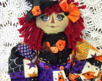 FREE SHIPPING...Primitive Raggedy Annie Witch in Bright Colors, Green Face, Crooked Hat, Lots of Fun Details