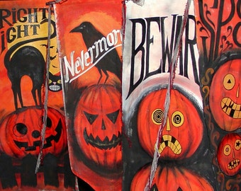 FREE SHIPPING...Halloween Banner Your Choice of Design-Original Painted Just for You
