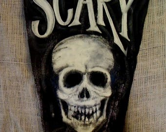 FREE Shipping...SCARY SKULL on Hand Painted Banner...Unique Halloween Decor