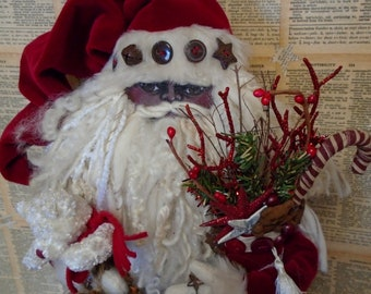 Rare Find-MADE TO ORDER Black Santa Claus Doll-Your Choice Outfit, Velvet, Vintage Quilt, Chenille, Burlap