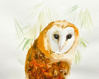 Barn Owl, watercolor painting, stress relief painting, art for walls, original home art decoration