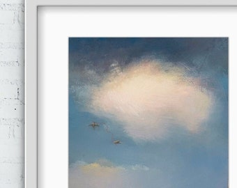 Bird Art for Walls, Blue Sky Art, Mindfulness gift, Oversized wall Art, Work from home,Relax at Home, Soulmate Painting,Above Bed Decor