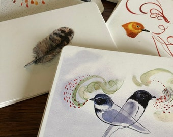 Assorted variety of bird art postcards, set of 5 avian thank you notes