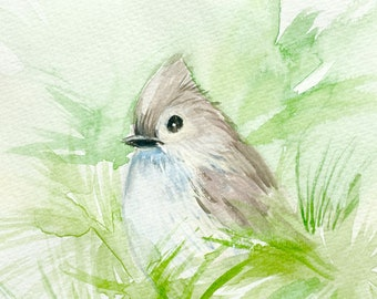 Tufted Titmouse, Office art, Home decoration, Watercolor painting, one of a kind art for home, stress relief, over the bed art