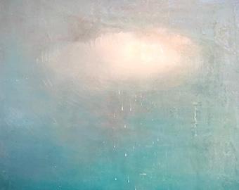 Blue Cloud Art Print, Work from Home decoration, Realistic Tromp L'oeil, 14x17 Giclee