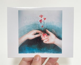 Friendship Gift Card, Set of 5, Peaceful Art thank you notecards, Birthday gift enclosure