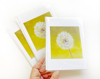 Dandelion, Pack of 5 Greeting note cards for Love, Friendship, Gift Giving and Thank yous