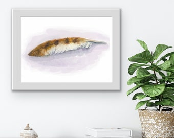 Hawk's feather art print, giclee print for bird lovers. Watercolor painting fine art print, realistic trompe l'oeil feather graphic artwork