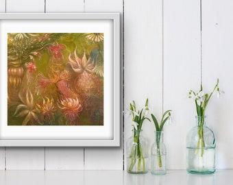 Floral Art Print, Floral print, Floral Wall Art, Bird Print, Art Gifts, Unframed Wall Art,Unframed Floral Prints,,Bird prints Wall Art,Art