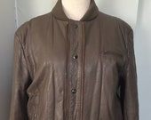 Vintage soft leather quilted bomber jacket size 42 womens medium large mens small