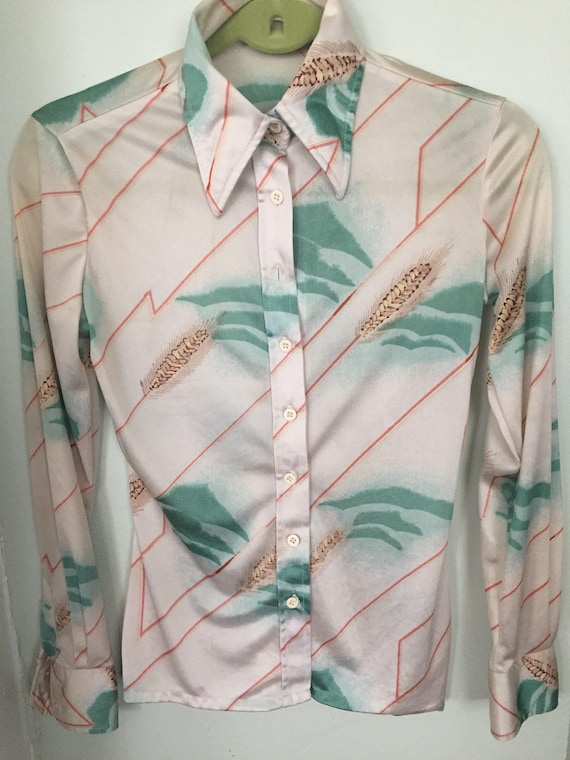 airbrush waves of grain Disco polyester 70's blouse size women's Small