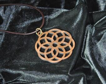Walnut Lotus Flower Necklace