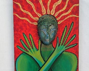 Original mixed media art painting, assemblage wall art , outsider art, portrait art