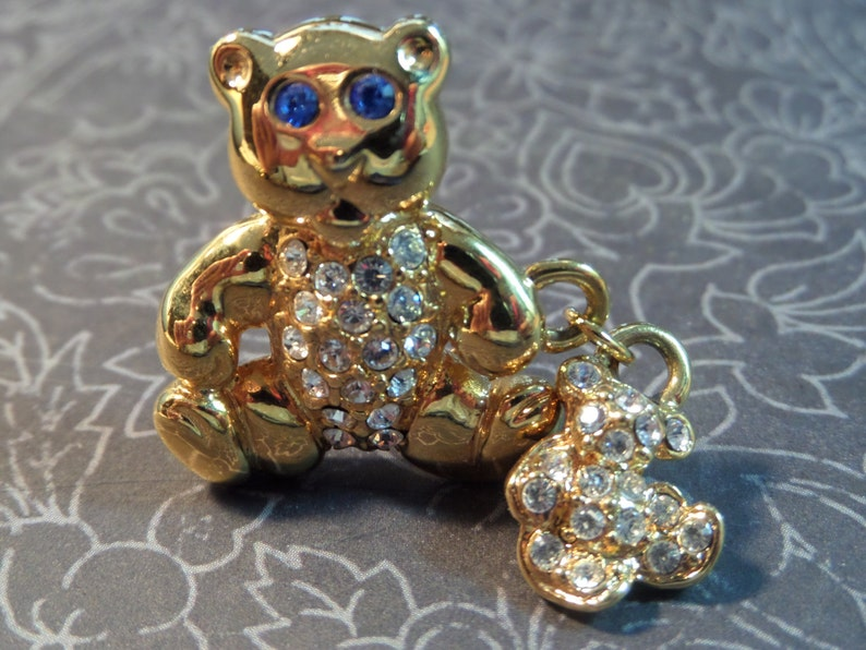 Blue Eyes Bear PinBrooch Rhinestones with Dangle Rhinestone Baby Bear