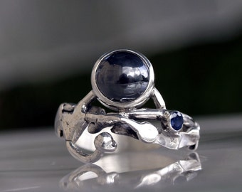 Organic Sterling silver ring with Hematite Gemstone and a small Blue Sapphire