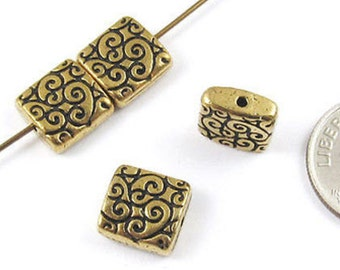 TierraCast Pewter Beads-Antique Gold SQUARE SCROLL 9mm (4 Pieces)