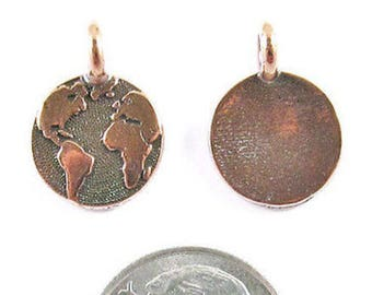 TierraCast Pewter Charms-COPPER ROUND EARTH 12x16mm (2)
