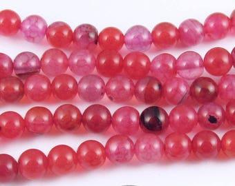 """Round Gemstone Beads-Pink Orange Dragon Vein Fire Agate 6mm 15"""" Strand (63)"""