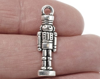 Sterling Silver Nutcracker Charm on a Sterling Silver Double Link Traditional Charm Bracelet 0496