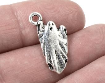 BULK 50 Spooky Ghost Silver Tone Charms SC6445