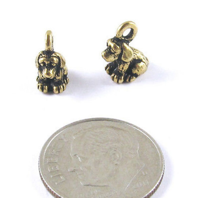 TierraCast Pewter Puppy Charm 2Pkg Gold Dog Charms
