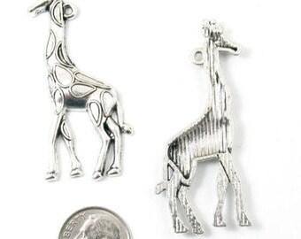 Large Silver Metal Animal Pendants-GIRAFFE 20x52mm (4 Pieces)