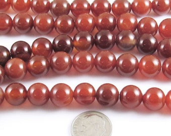 "15"" Strand Round Gemstone Beads-Burnt Orange CARNELIAN AGATE 10mm (38)"
