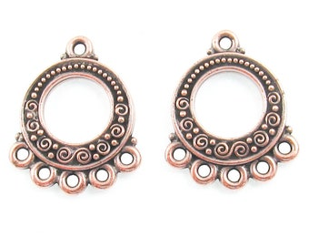 Copper Spirals & Beads Chandelier Earring Connectors 5 to 1 Loops (2 Pieces)